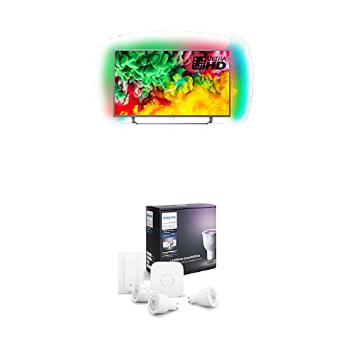 Philips 43PUS6753 12 43-Inch 4K Ultra HD Smart TV with 3-sided Ambilight and Philips Hue White and Colour Ambience Wireless Lighting GU10 LED Starter Kit