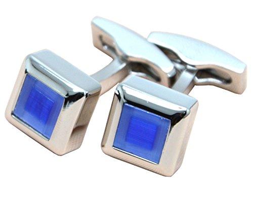 okones Luxus schönen blauen Achat Glas Manschettenknöpfe Set für Tuxedo Shirt French Kleid mit Geschenk-Box (Womens Tuxedo Kleid)