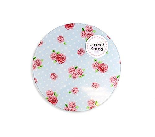 Glas blau geblümt Polka Dot Rose Teekanne Wasserkocher Ständer Vintage Untersetzer Tee Topf design 2 Polka Dot Tee-set