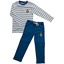 RCD Espanyol Pijesp Pijama Larga, Infantil, Multicolor (Azul/Blanco), 14