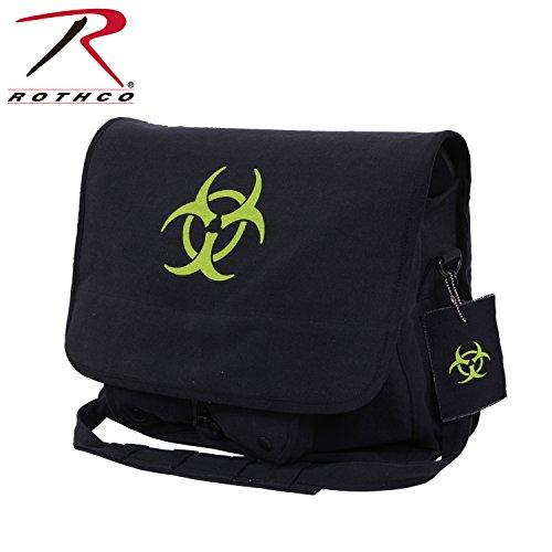 Rothco-Borsa a tracolla in tela, stile Vintage, Bio Hazard, colore: nero