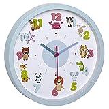 TFA Dostmann LITTLE ANIMALS Kinder-Wanduhr mit Tier-Motiven, leises Uhrwerk, ideal für das Kinderzimmer, Kunststoff, hellblau, ((L) 309 x (B) 44 x (H) 309 mm