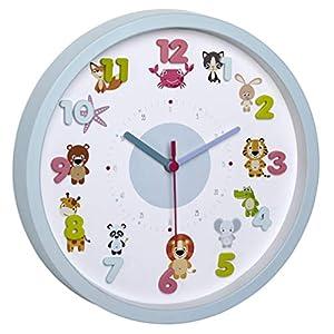 TFA Dostmann LITTLE ANIMALS Kinder-Wanduhr mit Tier-Motiven, leises Uhrwerk, ideal für das Kinderzimmer, Kunststoff…