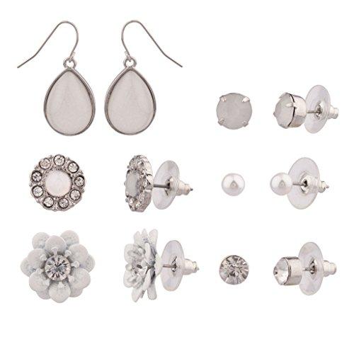 Lux accessori in finta perla cristallo floreale più set di orecchini a perno