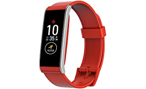 MyKronoz ZeFit4 Activity Tracker with Color Touchscreen and Smartphone Notifications – Red/Silver