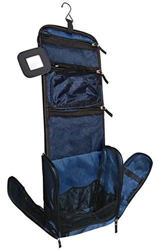 Großer Premium Kulturbeutel Kulturtasche zum Aufhängen für Männer und Frauen – Reise-Kulturbeutel mit GRATIS Flüssigkeitsbehälter und Schlafbrille – VAN BEEKEN Waschtasche (Blau)