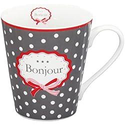 """Krasilnikoff """"Happy Mug"""" Tasse mit Henkel Bonjour Kaffeebecher dunkelgrau"""