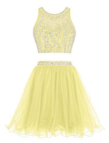 Fanciest Two Pieces Abendkleider Ballkleid Kurz Cocktail Heimkehr Dress 2016 Yellow