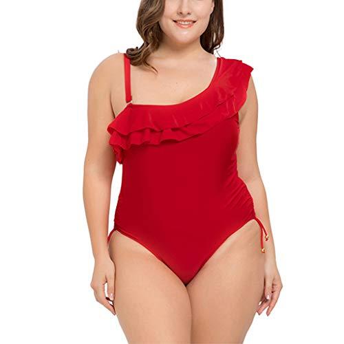 AlonSwallow Frauen Einteilige Badebekleidung Plus Fettes Schulterfreies RüSchen-Bikini-Badeanzug-SchwimmkostüM, Rot,Red,XL