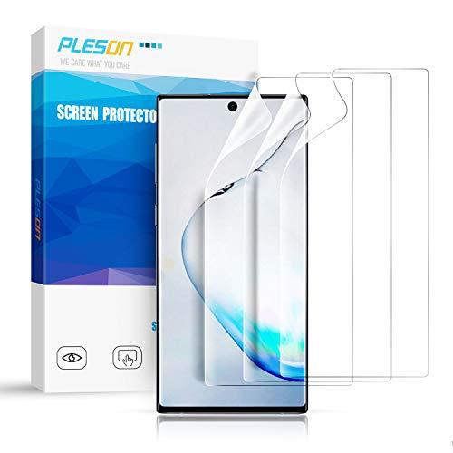 Pleson Samsung Galaxy Note 10 Plus Schutzfolie, [Neue Installationsmethode] [3 Stück] Galaxy Note 10 Plus Folie (Nicht Panzerglas), Blasenfreie Bildschirmschutzfolie für Galaxy Note 10 Plus