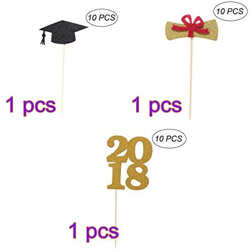 (OULII Graduation Cake Topper 2018 Graduierung Glitter Cap Cupcake Toppers schwarz Arzt Hut Design Kuchen aus Holz Toppers Dekorationen für Abschlussfeier (30 Pack))