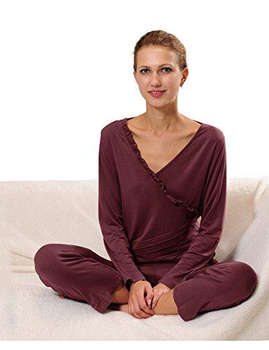 RAIKOU Damen Jersey Fitness Yoga Badeanzug Hausanzug mit Rüschen Raffungen Weinrot