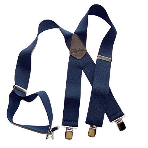 Holdup Damen Hosenträger mit patentierten Jumbo-silbernen, rutschfesten Clips, extra lang, XL, Dunkelmarineblau - Patent Leder Slip