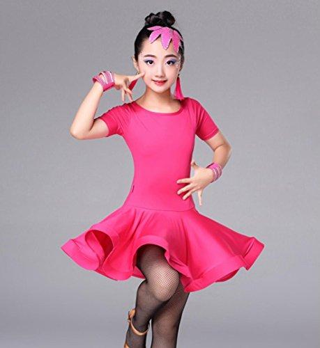 Kinder Latein Tanz Rock Kinder weibliche Übung Kleidung Prinzessin Kleidung Kinder Latin Dance Kleidung Wettbewerb Kostüm Rose Black, Rose red, m