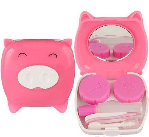 Kontaktlinsen Zubehör & Reise Set 'Piggy Style', Kontakt Linsen Nécessaire mit: 1x Kontaktlinsen Doppel-Behälter, 1x Pinzette, 1x...