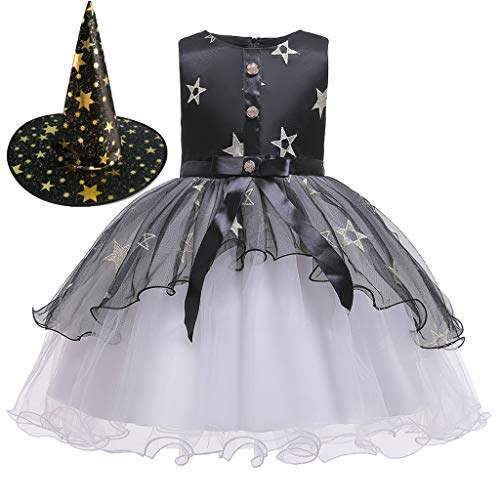 Zolimx Halloween Kostüme Kinder Mädchen Kleid Baby Kurzarm Prinzessinen Kleider Spitze Kleid Festlich Partykleidung Kinder Formal Kostüm Falten Kürbiskleid Cosplaykostüm (Baby Knochen Kostüm)