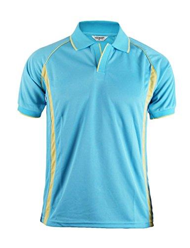 BCPOLO Herren Sportswear Funktionspoloshirt Coolon Stoff V-Ausschnitt Knopfleiste Stil Golfwear-sky blue XXL (Blau Langarm-uniformhemd)