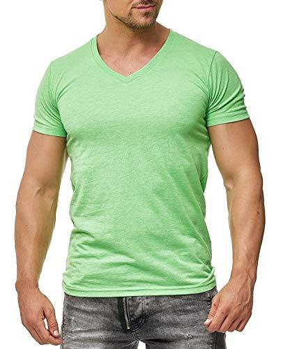 Happy Clothing Herren T-Shirt V-Ausschnitt Meliert Comfort Bügelfrei , Größe:L, Farbe:Grün