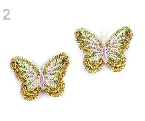 10er 2-Gold Textil-Applikationen/Nähen-auf Patch Schmetterling Mit Lurex, Flecken, Nähen-auf, Eisen-auf Und Reflektierende, Kurzwaren
