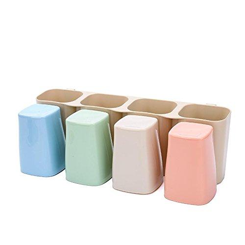 YASHUAJIA 6 Racks Staubdicht Wand-Zahnbürstenhalter mit Regal und Mundwasser-Tasse - Für den Bad Familien-Halter, für Erwachsene und Kinder (Größe: 33cm * 12cm * 11cm)
