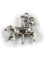 Broche de plata de ley 3D Carousel para pulsera de caballo