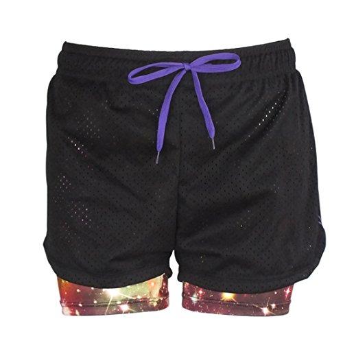 Vertvie Femme Shorts de Sport En Mesh Pantalon Court en Maille Ceinture Réglable Cordon Violet