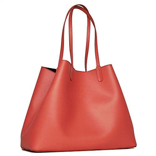 Borsa da donna grande in vera pelle - shopping bag (nero) Rosa
