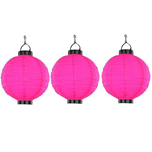 3er Set LED Solar Lampion LED Grill Party Deko Leuchten Garten Kugel Lampen pink