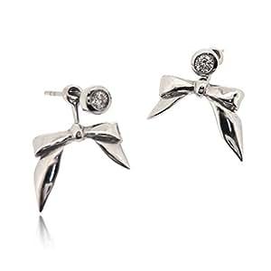 Sovats Boucles d`oreilles Arc deux modes Boucles d'oreilles Argent Femme 925 Avac Oxyde de Zirconium