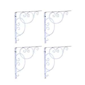 VORCOOL Reggimensola ferro battuto Supporto Staffa per mensola parete 4 pezzi (Bianco)