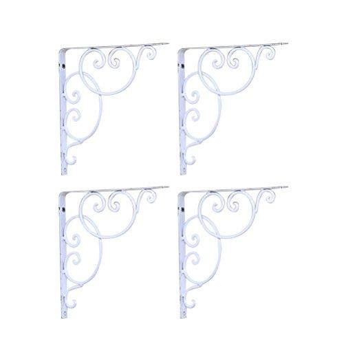 WINOMO Wandregel 4pcs Regalwinkel für Buch / Zimmerpflanzen / Set Spitzenkasten (weiß) (Buch-regal-klammern)