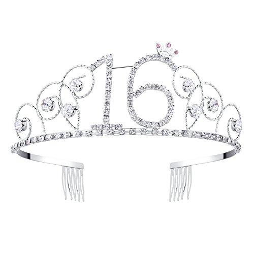 BABEYOND® Kristall Geburtstag Tiara Birthday Crown Prinzessin Kronen Haar-Zusätze Silber Diamante Glücklicher 16/18/20/21/30/40/50/60/70/80/90 Geburtstag (16 Jahre alt)