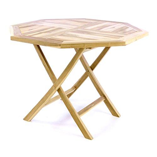 Divero Balkontisch Gartentisch Tisch Esstisch Holz Teak klappbar Ø 100 cm massiv Natur