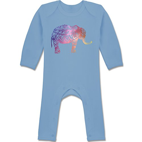 Tiermotive Baby - Elefant Namaste - 6-12 Monate - Babyblau - BZ13 - Langarm Baby-Strampler / Schlafanzug für Jungen und Mädchen (Yoga-baby-kleidung)