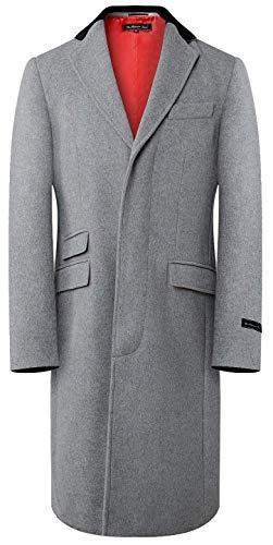 Herren Grau Wolle & Kaschmir Covert Mantel warm Winter Mod Cromby Mantel Velvet Kragen rot Satin Futter - grau, 58 -
