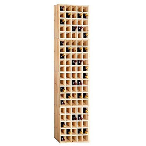 Casier à bouteilles / Étagère à vin CUBE 52, Kit de 4 pièces en petits casiers en bois de pin non traité, pour 100 bouteilles - H 208 x L 52 x P 25 cm