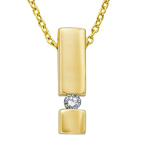 Diamond Line Damen - Halskette 585er Gold 1 Diamant ca. 0,15 ct.
