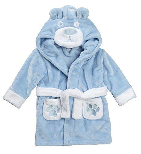 Baby Bademantel super weich Plüsch Fleece von 6 Monate bis 18 Monate Junge oder Mädchen - Blau, 68