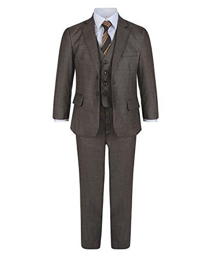 LotMart Jungen 5 Stück Formeller Anzug Jacke Weste Krawatte Shirt Hosen Hochzeit Party und gratis Geschenk LotMart Promotion Stift mit jeder Päckchen - Braun, 152