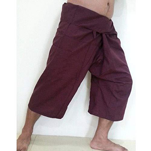 COOOOEENS New Wide Leg Mens Red Farbe Hosen Taschen Männer Frauen Wadenlangen Hosen Fischer Hosen Größe S-5XL Cotton Wide Leg Capris