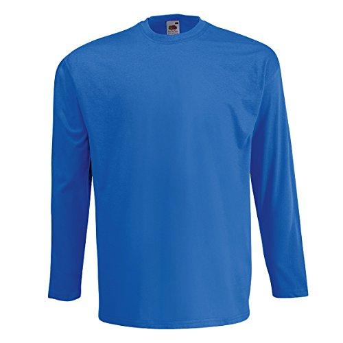 T-Shirt Maniche Lunghe Cotone Uomo Maglietta Manica Lunga Fruit of The Loom Valueweight Maglia da Lavoro, Colore: Blu Royal, Taglia: L
