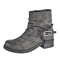 Cipriata Ladies Womens Low Block Heel Inside Zip Buckle Ankle Boots Shoes Size 3-8 - Grey - UK 6