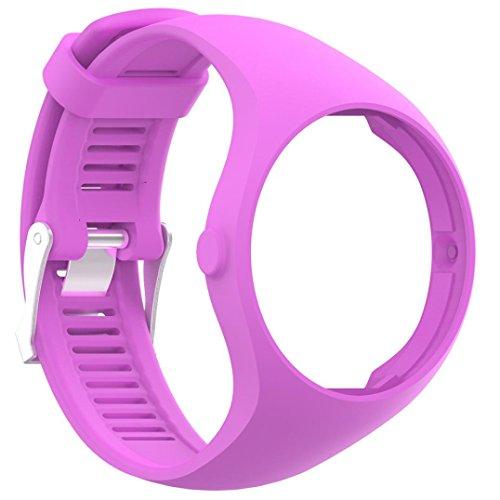 squarex Ersatz-Uhrenarmband aus weichem Silikon für Polar M200 Fitness-Armbanduhr, Damen, violett, AS Show