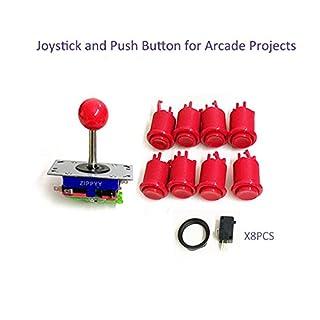 Joystick und Push Tasten für Arcade Game Maschine Rot, 1Joystick und 8Tasten mit Schalter für Holz Schrank, Spiel Maschine Zubehör Rot Rot