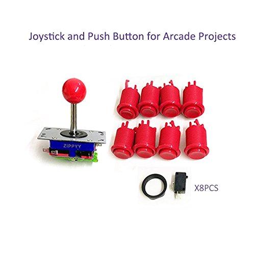 Joystick und Push Tasten für Arcade Game Maschine Rot, 1Joystick und 8Tasten mit Schalter für Holz Schrank, Spiel Maschine Zubehör Rot Rot - Push-button-schalter Umfasst