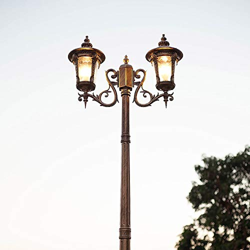 Hof Straßenlaterne Open Air Hochmast Doppelkopf mit Mast Straßenlaterne mit Samenglas Boden Stehlampe Firma Familie Villa Park Platz Pfosten Laterne Licht (Color : Bronze-2.65m) -