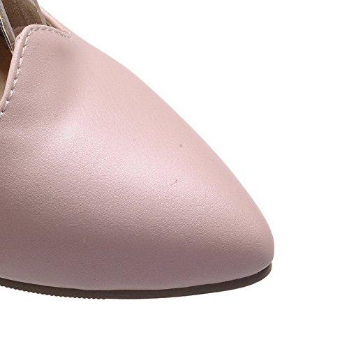 VogueZone009 Femme Matière Souple Boucle Pointu à Talon Correct Chaussures Légeres Rose