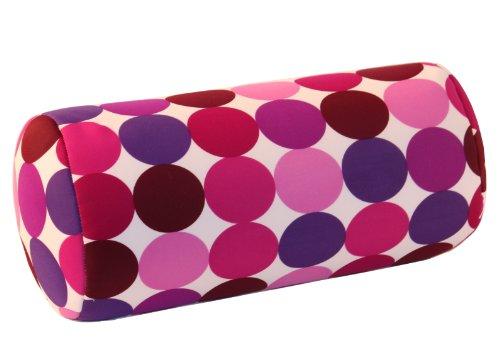 Invitalis Nackenrolle mit Mikroperlen in 19 Farben - Öko tex Standard 100 - Orthopädisches Relaxkissen als Kopfkissen, Reisekissen und Nackenkissen Zuhause oder auf Reisen - Punkte Lila / Pink