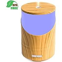 Humidificador, Difusor Aroma Aromaterapia Ultrasónico de Aceites Esenciales 160ml, 14-Colores LED, Seguro y Elegante, 2-Ajuste de Tiempo Fijo, Auto-Apaga, Purificar el Aire y Mejorara el Aire Seco