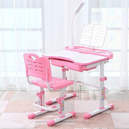 DiLiBee Kinderschreibtisch mit Stuhl und Schublade, Schülerschreibtisch Schreibtisch für Kinder und Schüler höhenverstellbar mit LED Lampe (Rosa) -